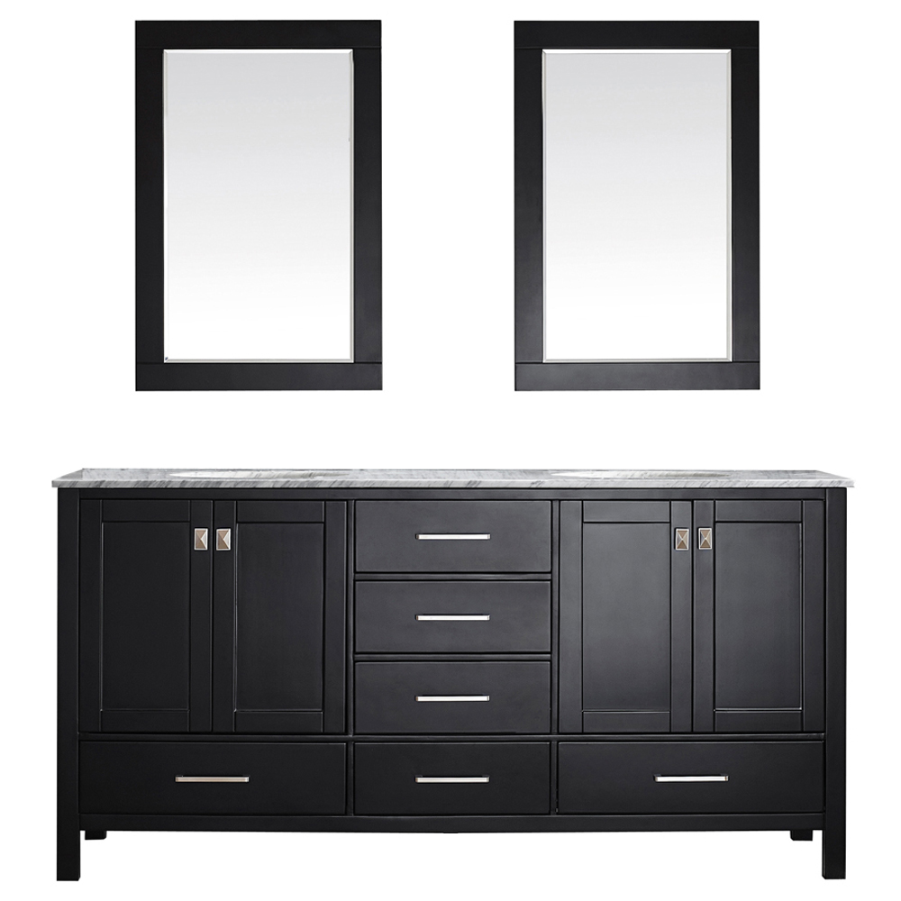 "Gela 72"" Vanity in Espresso with Carrara White Marble Countertop with Mirror"