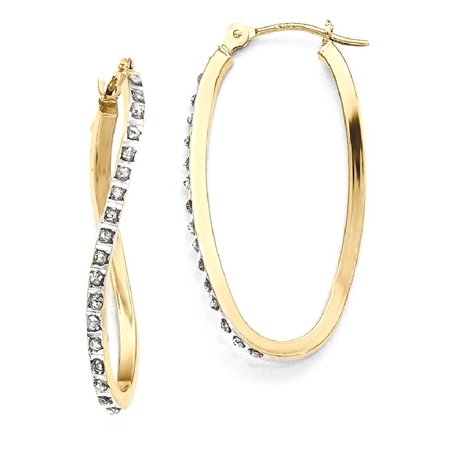 14kt Yellow Gold Diamond Fascination Twist Hinged Hoop Earrings Ear Hoops Set Fine Jewelry Ideal Gifts For Women Gift Set From Heart