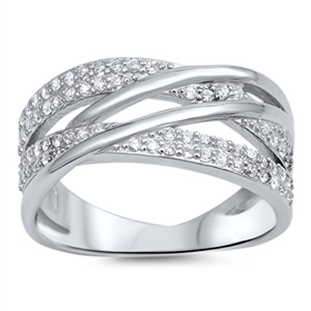 White CZ Weave Cute Women's Fashion Ring ( Sizes 5 6 7 8 9 10 ) New 925 Sterling Silver Band Rings (Size 7)