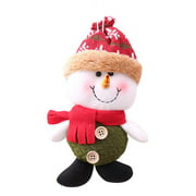 Christmas Pendant Ornaments Snowman Toy Doll Hanging Decor Kids Gift (Red)