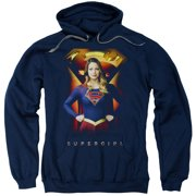 Supergirl Standing Symbol Mens Pullover Hoodie Navy