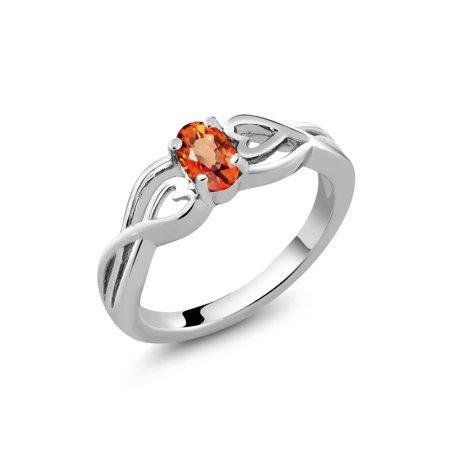 Orange Sapphire Diamond Anniversary Ring - 0.55 Ct Oval Orange Sapphire 925 Sterling Silver Women's Ring
