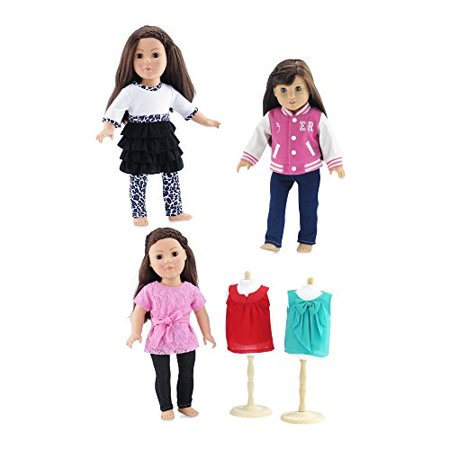 18-inch Doll Clothes | Value Bundle - Set of 3 Doll Outfits, Including Varsity Jacket Outfit with Jeans and Tee, Jeans Outfit with 3 Shirts, and Animal Print Legging Outfit | Fits American Girl Dolls