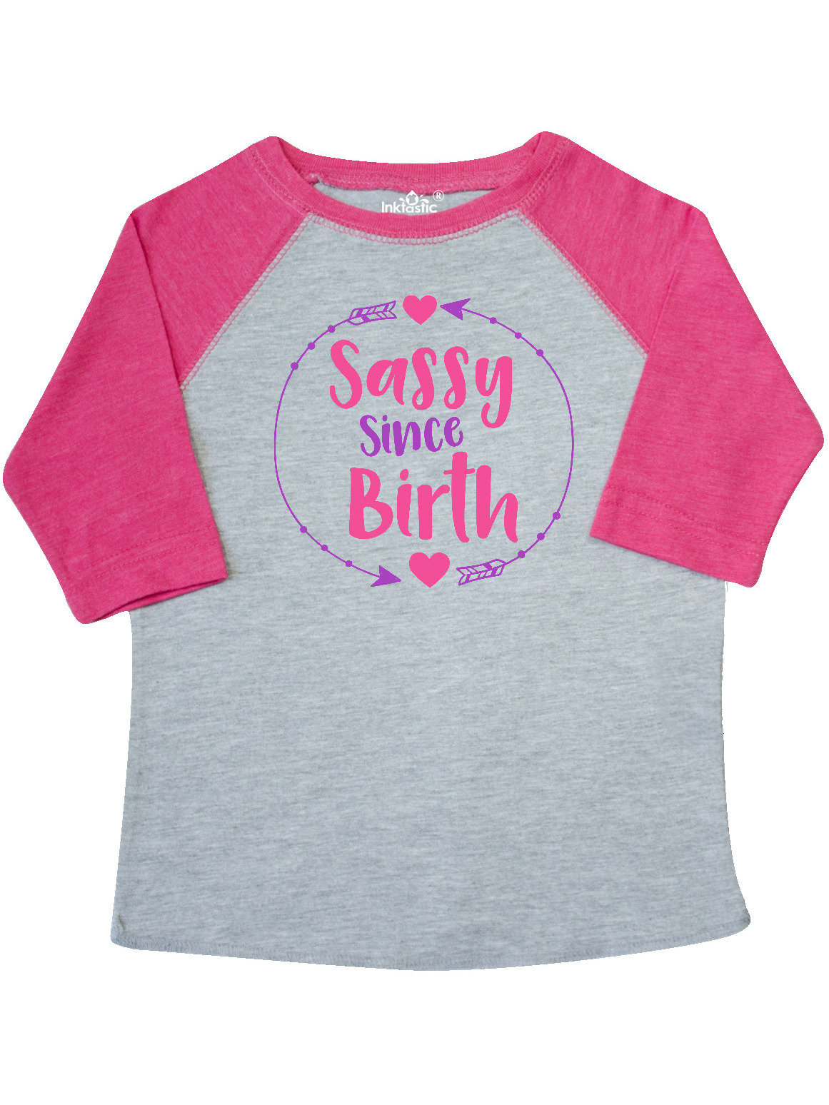 Pink Toddler Long Sleeve T-Shirt inktastic Sassy Since Birth Arrows Hearts