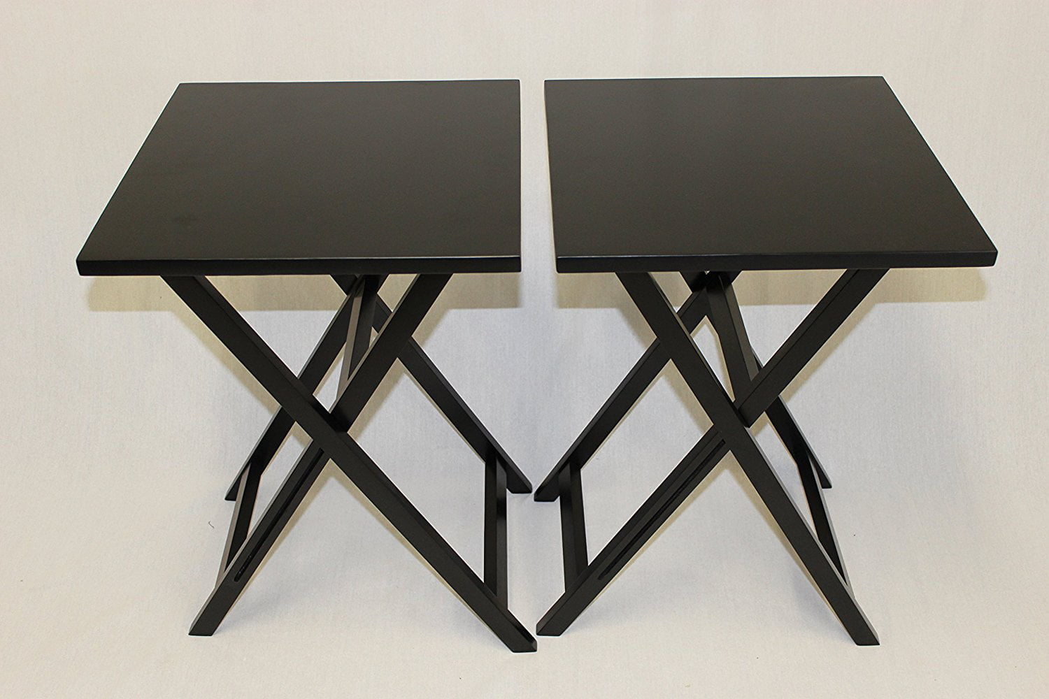 Nice EHemco Ez Folding TV Tray Table Square Top   Hard Wood In Black Set Of 2    Walmart.com