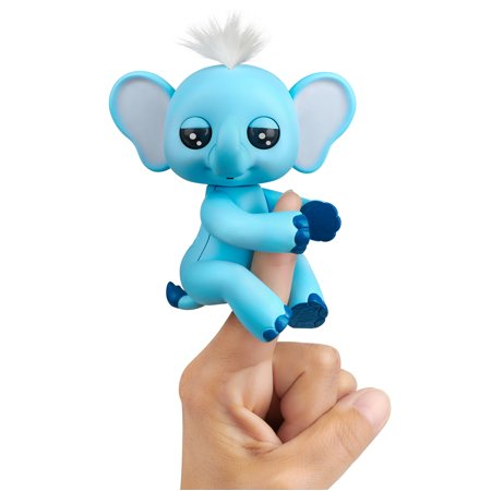 Fingerlings Baby Elephant - Gray (Blue) - Interactive Toy by WowWee