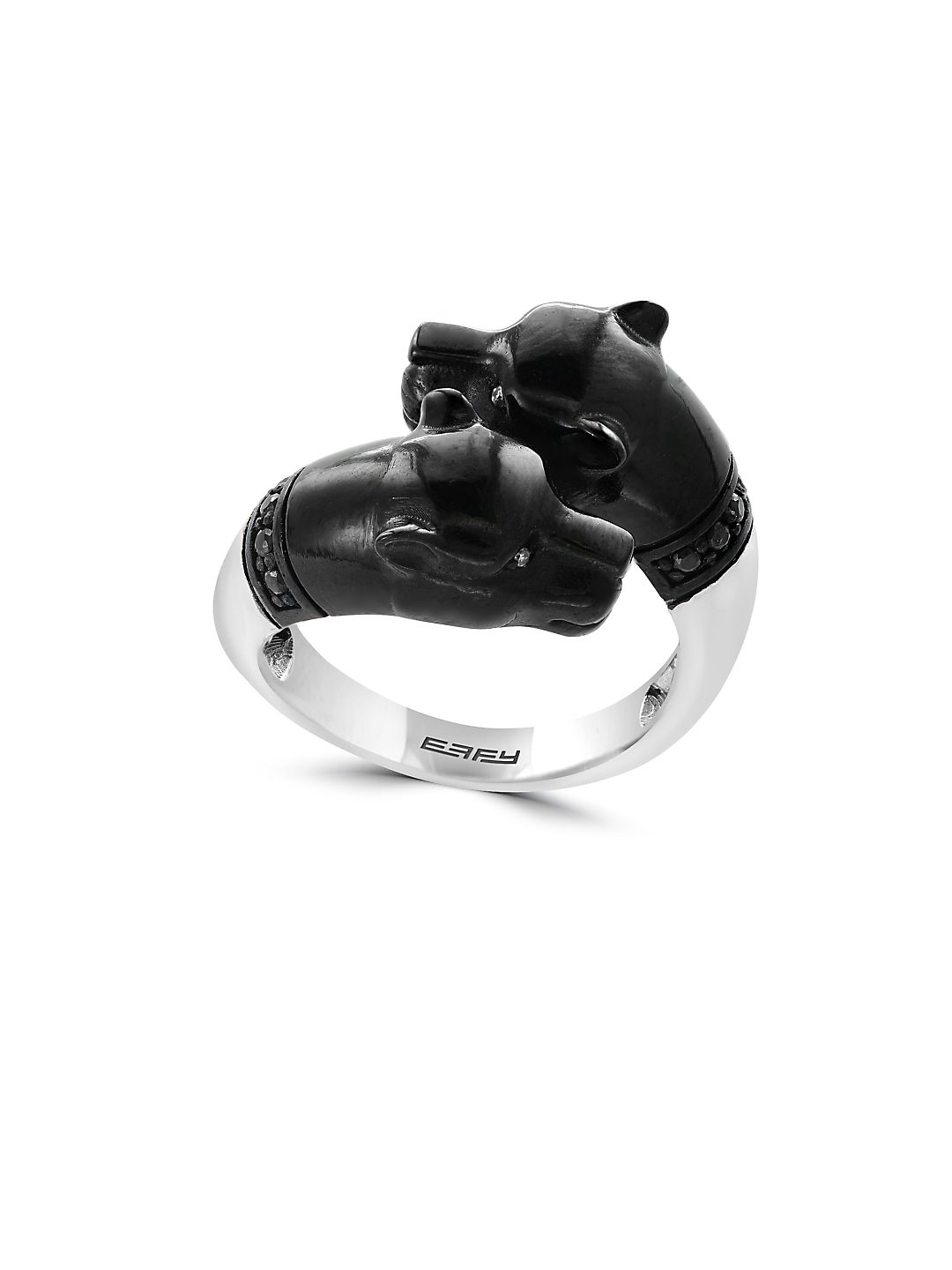 Gento Black Sapphire, Diamond and Sterling Silver Panther Ring