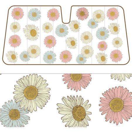 BDK Daisy Flower SunShade, Pink Baby Blue Bloom, Folding Accordion with Static Cling Auto Shade