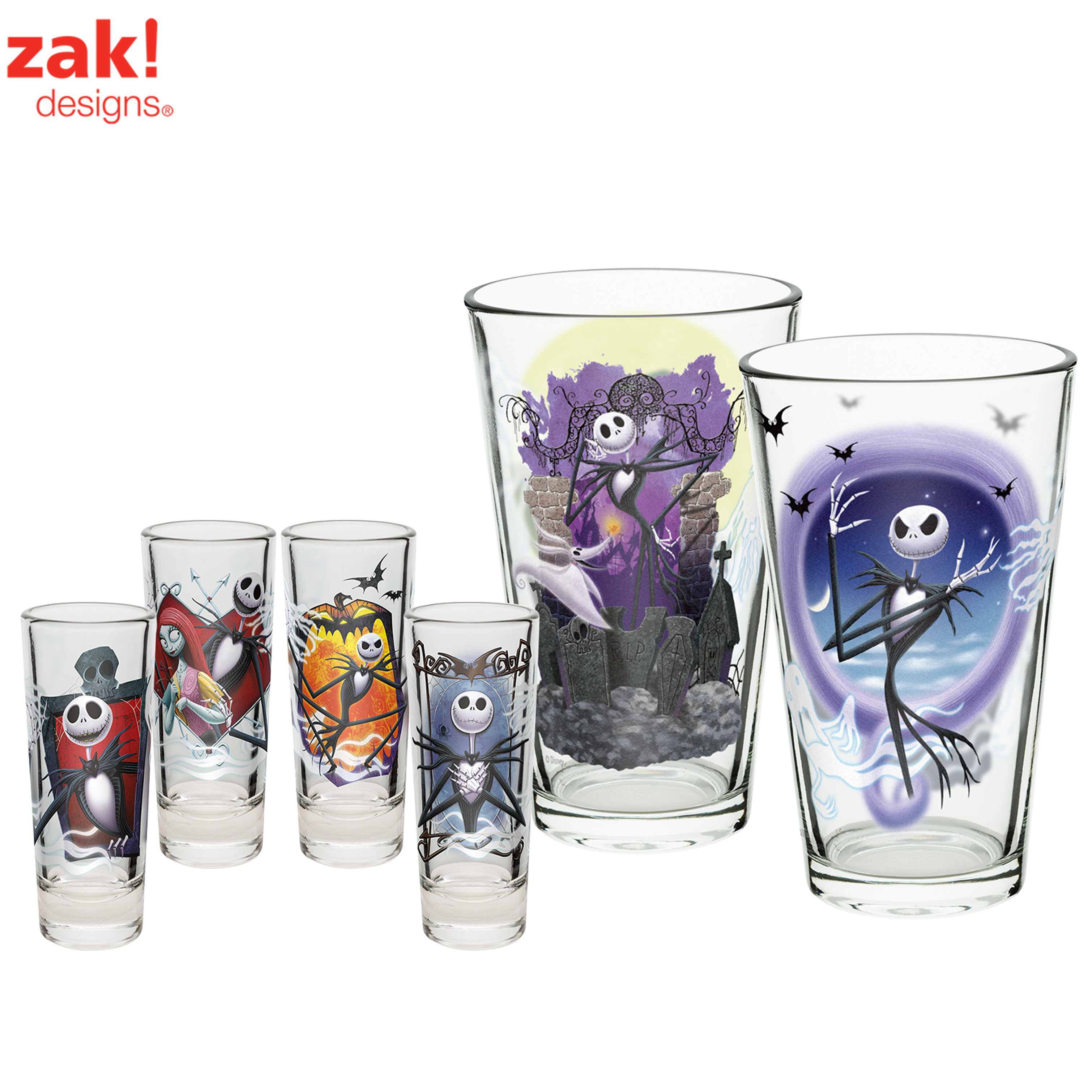 Nightmare Before Christmas Jack Skellington & Zero Beer Glasses , 6-piece set