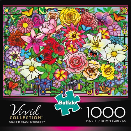 Buffalo Games Vivid Stained Glass Bouquet 1000 Piece Jigsaw (Jigsaw Glasses)