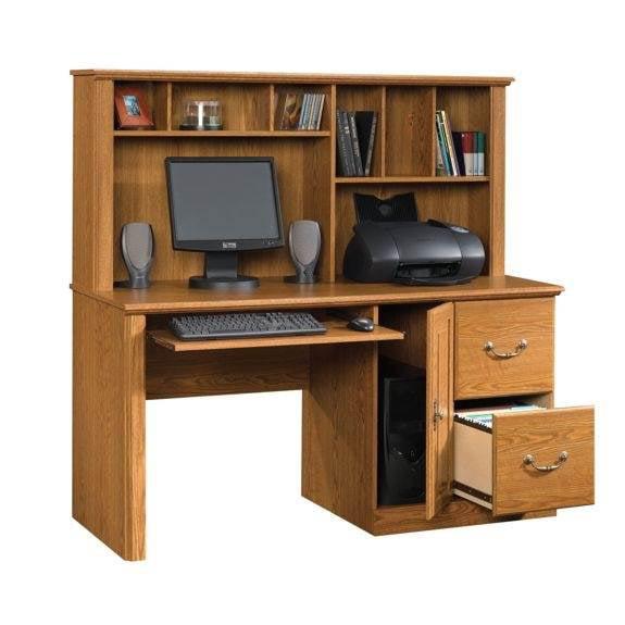 Orchard Hills 2 Drawer Computer Desk W Hutch In Oak Finish