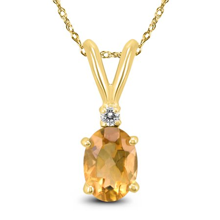 14K Yellow Gold 8x6MM Oval Citrine and Diamond Pendant