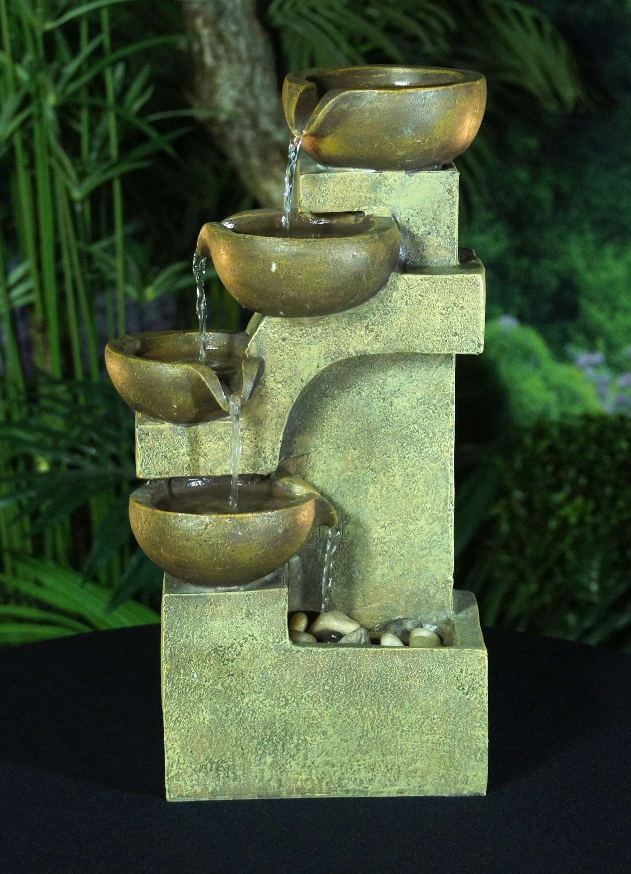 Alpine Tiering Pots Modern Tabletop Fountain, 17 Inch Tall by Alpine Corporation