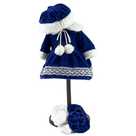 "15"" Bitty Doll Clothes for 15"" Baby & Twins Blue Velvet Dress , Hat, tights & Shoes"