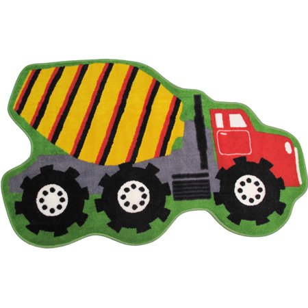 Fun Rugs Fun Time Shape Area Rugs - FTS-12 Childrens Kids Multi-Color Dump  Cement Truck Wheels Rug