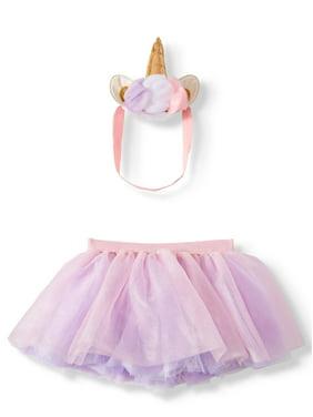 Wonder Nation Baby Girls Unicorn Headband and Tutu, 2-Piece Baby Photo Outfit Set