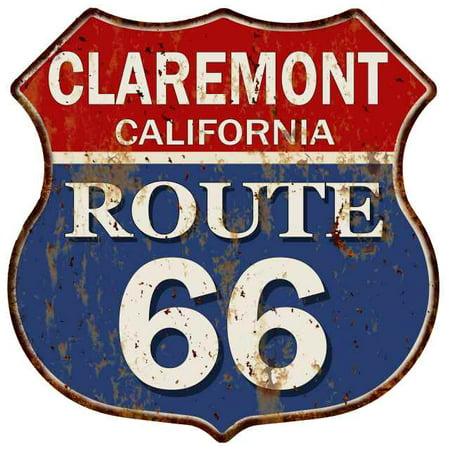 CLAREMONT CALIFORNIA Route 66 Shield Metal Sign Man Cave Garage 211110014054