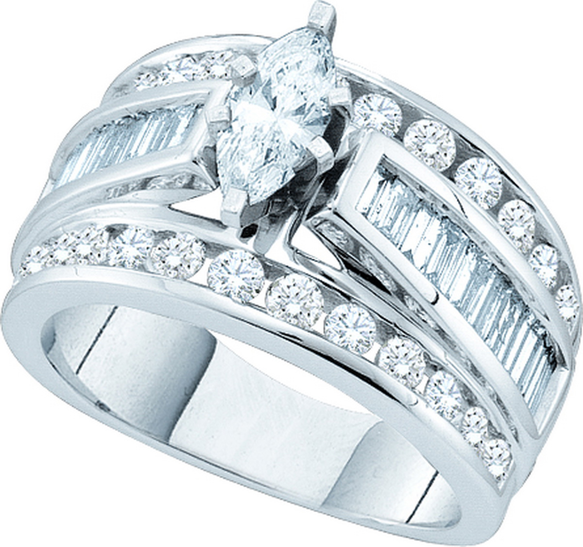 14k White Gold Marquise Diamond Womens EGL Certified Brid...