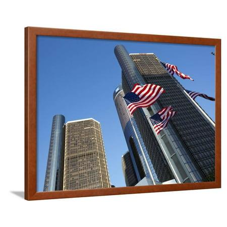 American Flags, General Motors Corporate Headquarters, Renaissance Center, Detroit, Michigan, Usa Framed Print Wall Art By Paul