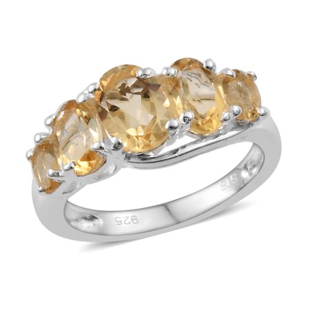 Oval Citrine 5 Stone Statement Promise Ring 925 Sterling Silver Jewelry