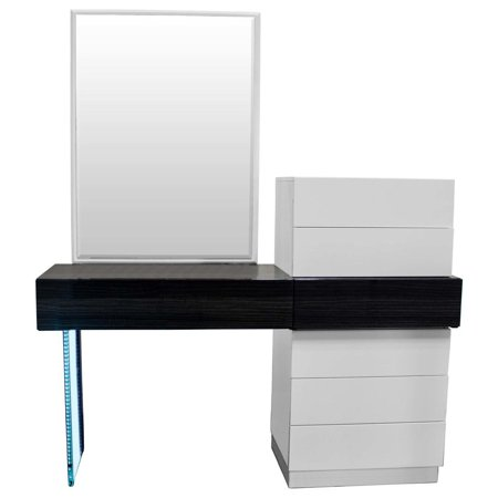 Ireland Modern White and Gray Vanity Dresser With Mirror