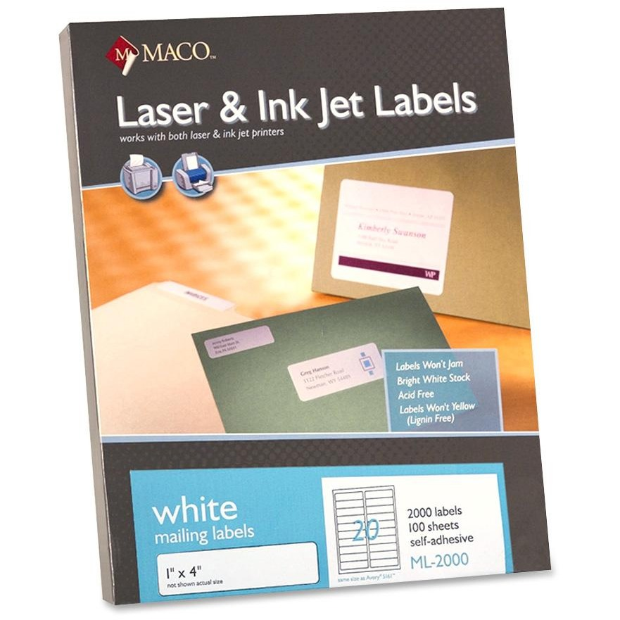 Maco, MACML2000, Multipurpose Self-Adhesive Mailing Labels, 2000 / Box, White