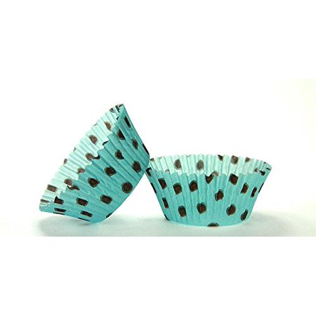 50pc Hot Dot Design Aqua With Brown Dots Standard Size Cupcake Baking Cups Liners Wrappers](Aqua Cupcake Liners)