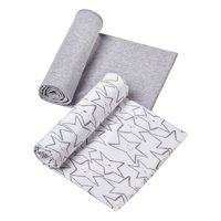 Little Star Organic 100% Pure Organic Cotton Swaddle Blanket, 2 Pk, Gray-Little Dreamer