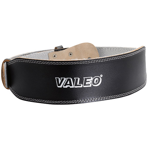 Valeo VRL4 4-Inch Padded Leather Lifting Belt For Men And Women With Back Support for Weightlifting And Suede Lined Foam Lumbar Pad