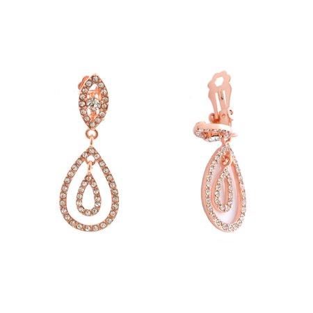Wedding Earrings Rose Gold Plating Clip On Dangle