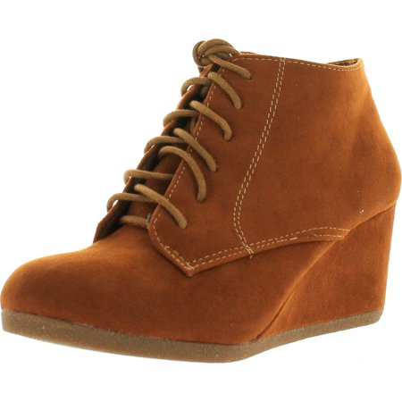 Bella Marie Brenda 11 Womens High Top Lace Up Rounded Toe Platform Wedge Suede Booties