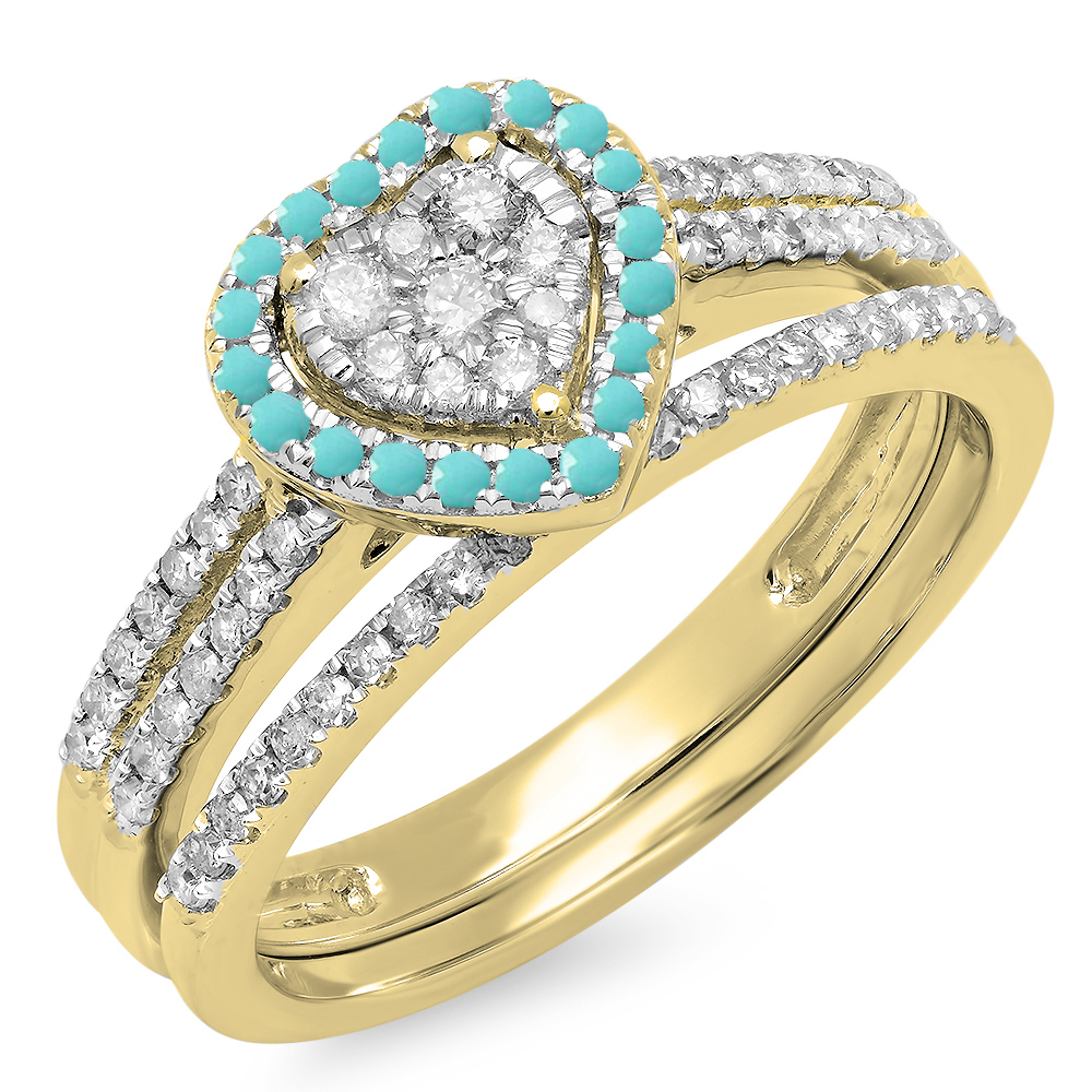 Dazzling Rock 10K Gold Round Cut Turquoise & White Diamon...
