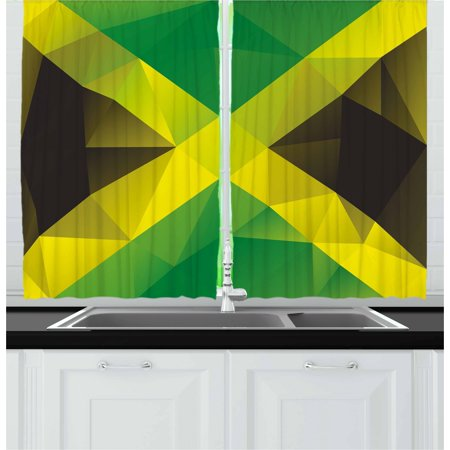 Jamaican Curtains 2 Panels Set, Triangular Polygon Design Abstract Flag Geometric National Symbol, Window Drapes for Living Room Bedroom, 55W X 39L Inches, Green Yellow Green Brown, by Ambesonne ()