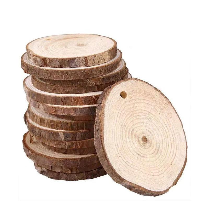 60Pcs Natural Wood Slices Discs 5-6cm Drilled Hole DIY Crafts Xmas Wedding Decor