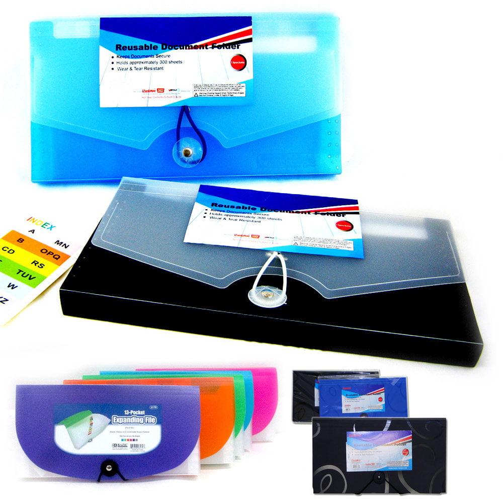 13 Pocket Expanding Document File Accordion Organizer School Coupon Folder New !