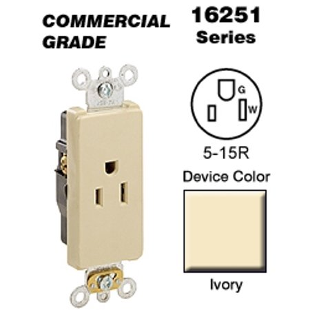 Leviton 16251-I Decora Single Receptacle Commercial Grade 5-15R 15A 125V BandS Wired - Ivory