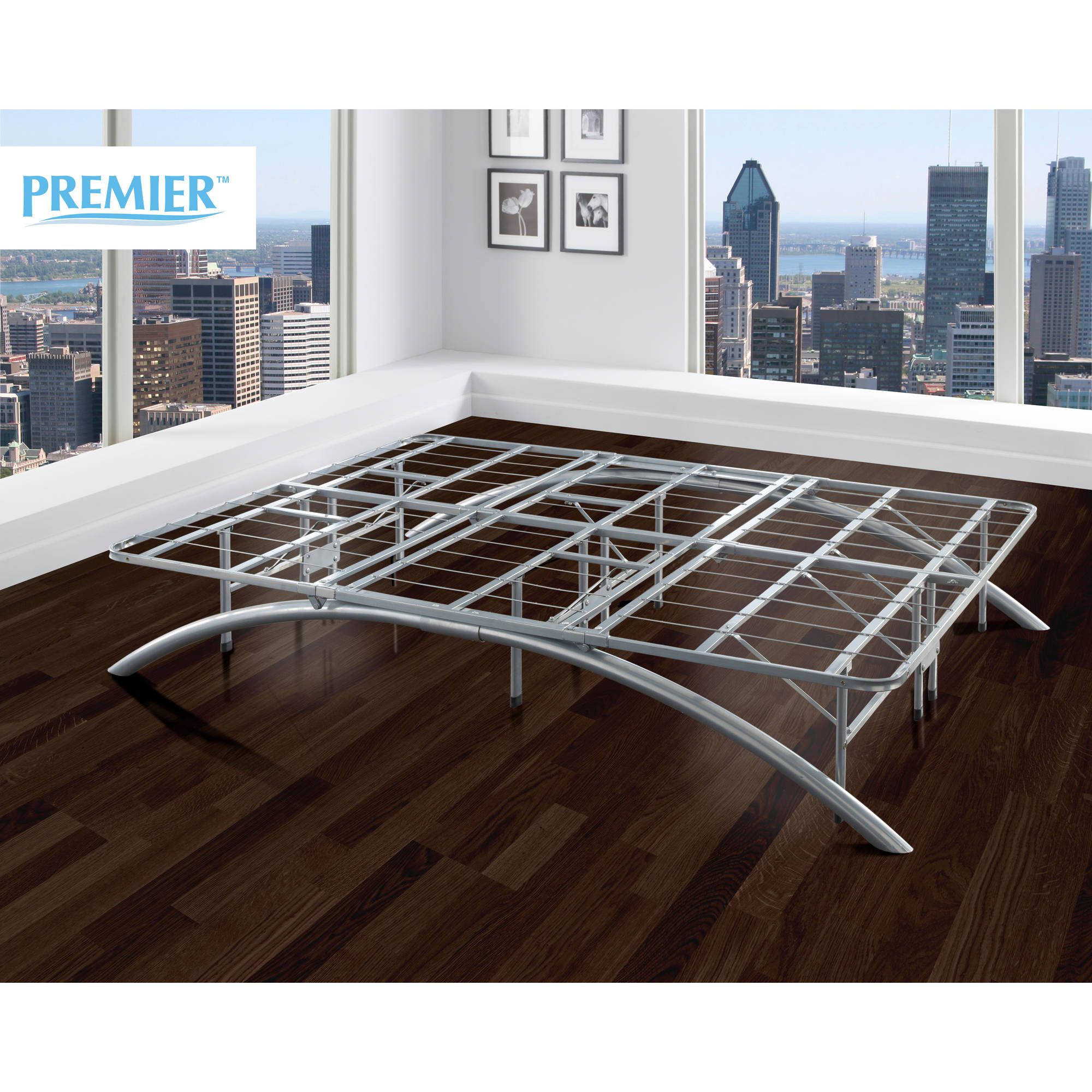 Premier Ellipse Arch Platform Bed Frame, Brushed Silver