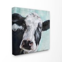 The Stupell Home Decor Collection Gentle Farm Cow Painting on Blue Stretched Canvas Wall Art, 17 x 1.5 x 17