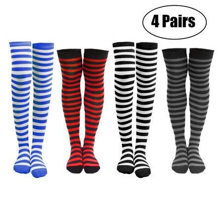 4 or 8 Pairs of Women's Striped Black White Blue Red Knee Cotton High Socks (4 Pairs)](Red And White Knee Socks)