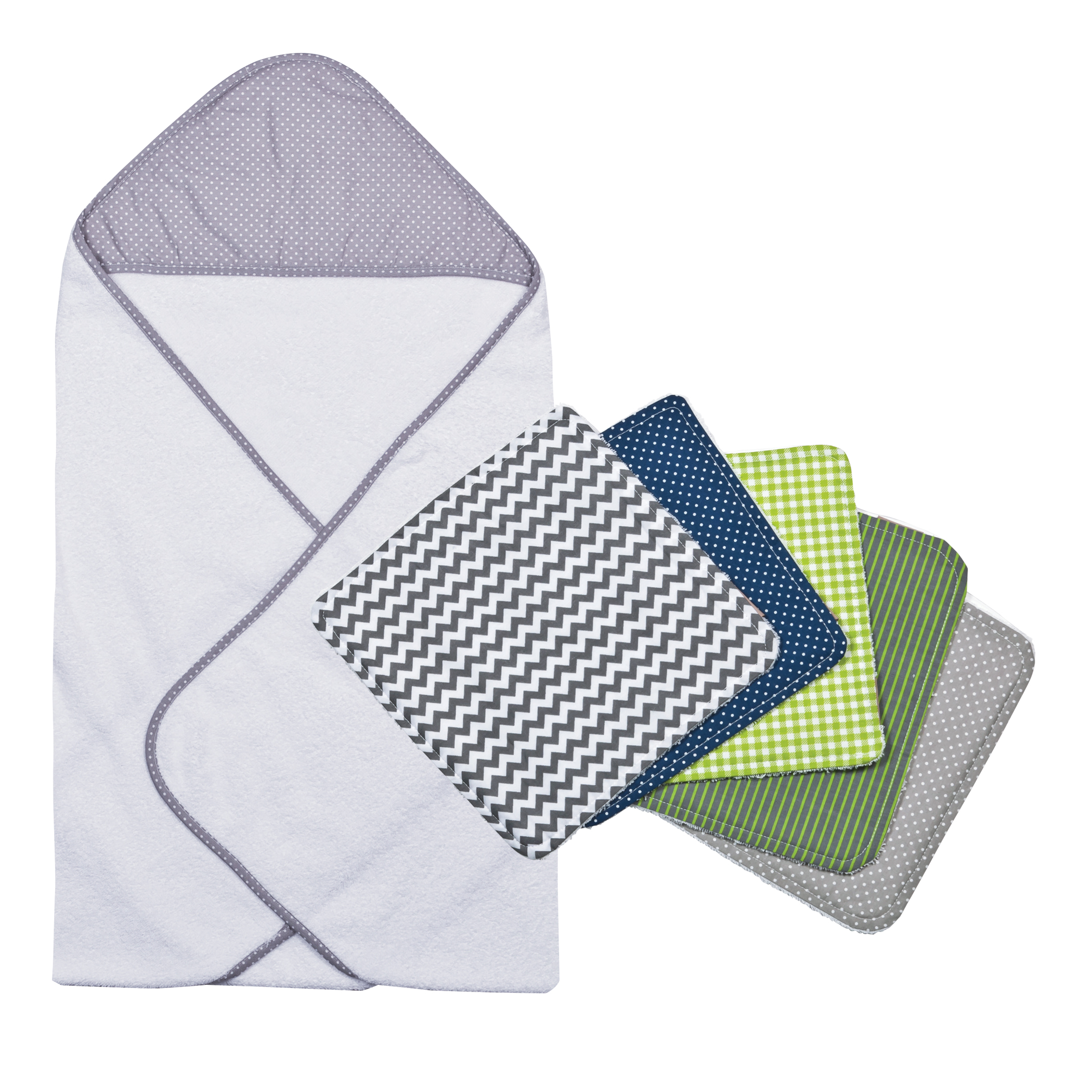 Perfectly Navy Gray Dot Hooded Towel And Wash Cloth