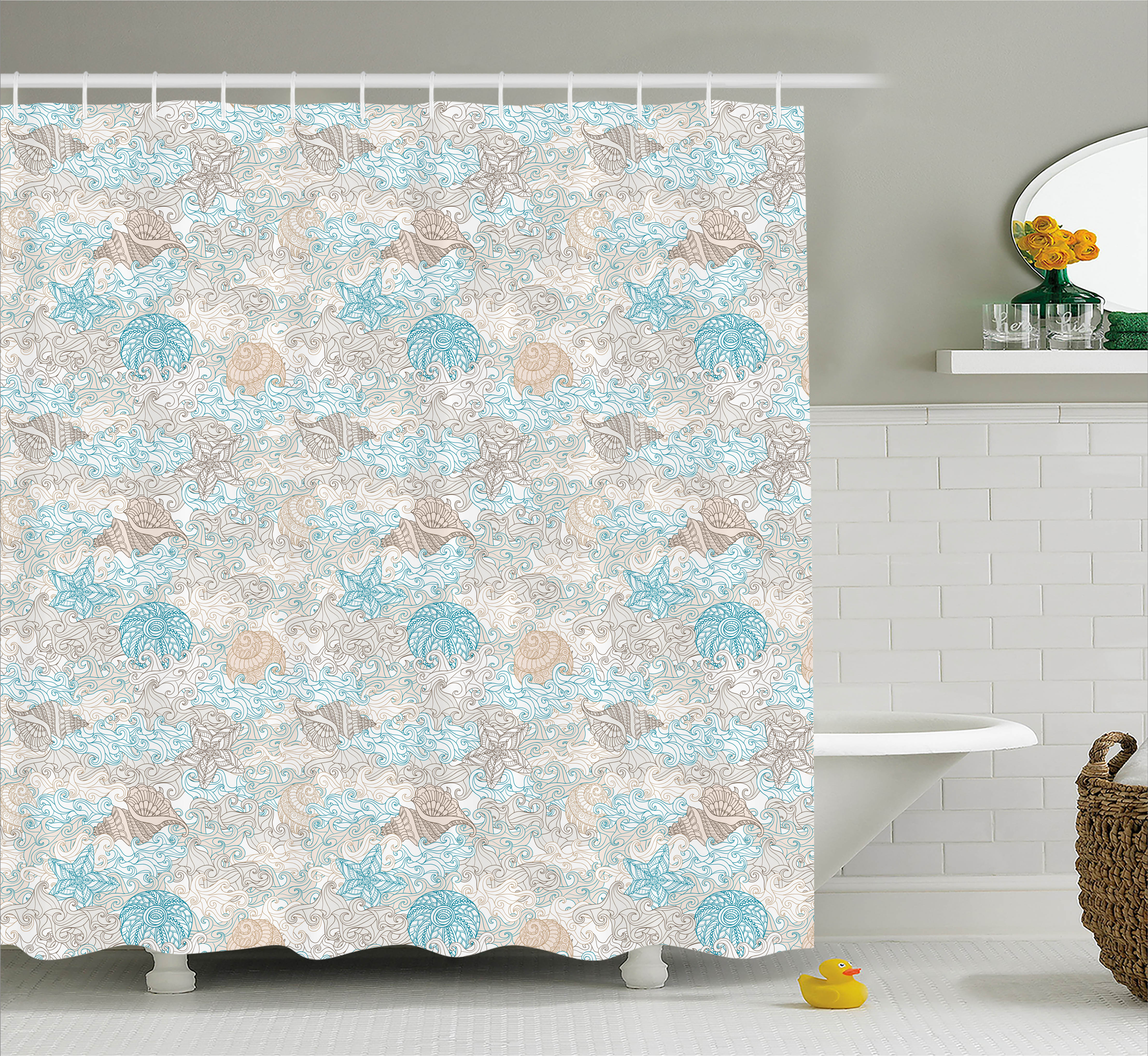 Nautical Shower Curtain, Pastel Toned Sea Shell Starfish Mollusk Seahorse Coral Reef Motif Design, Fabric Bathroom Set with Hooks, 69W X 70L Inches, Tan Turquoise White, by Ambesonne