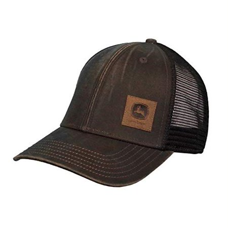 John Deere Oil Coated Soft Mesh Hat W/Sueded Patch, Brown