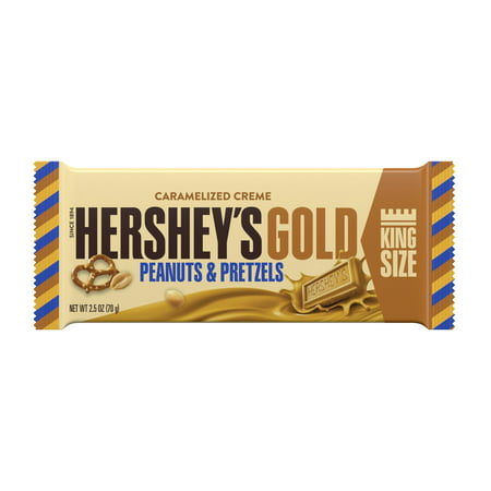 Hershey's Gold, Peanuts and Pretzels Candy Bar, 2.5 Oz