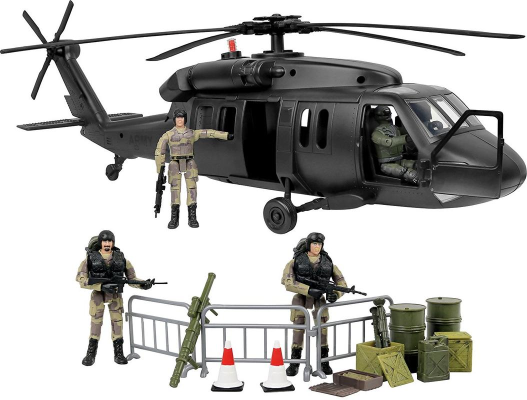 Click N Play Military Black Hawk Attack Combat Helicopter 30 Piece Play Set With... by Click N' Play