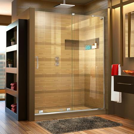 DreamLine Mirage-X 56-60 in. W x 72 in. H Frameless Sliding Shower Door in Chrome; Right Wall Installation (Sterling Frameless Shower Doors)