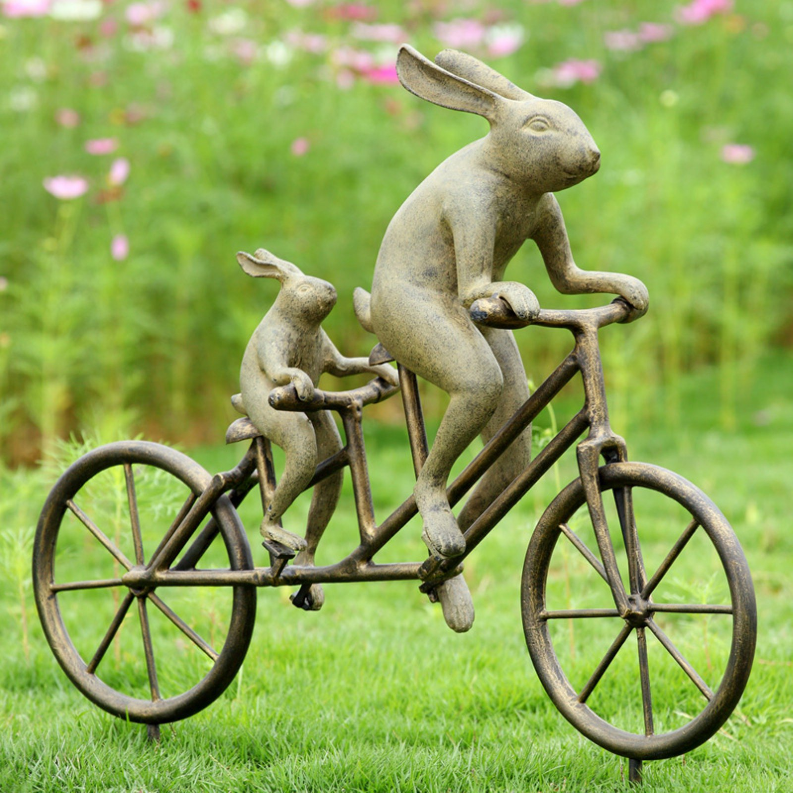 San Pacific International Tandem Bicycle Bunnies Garden Statue