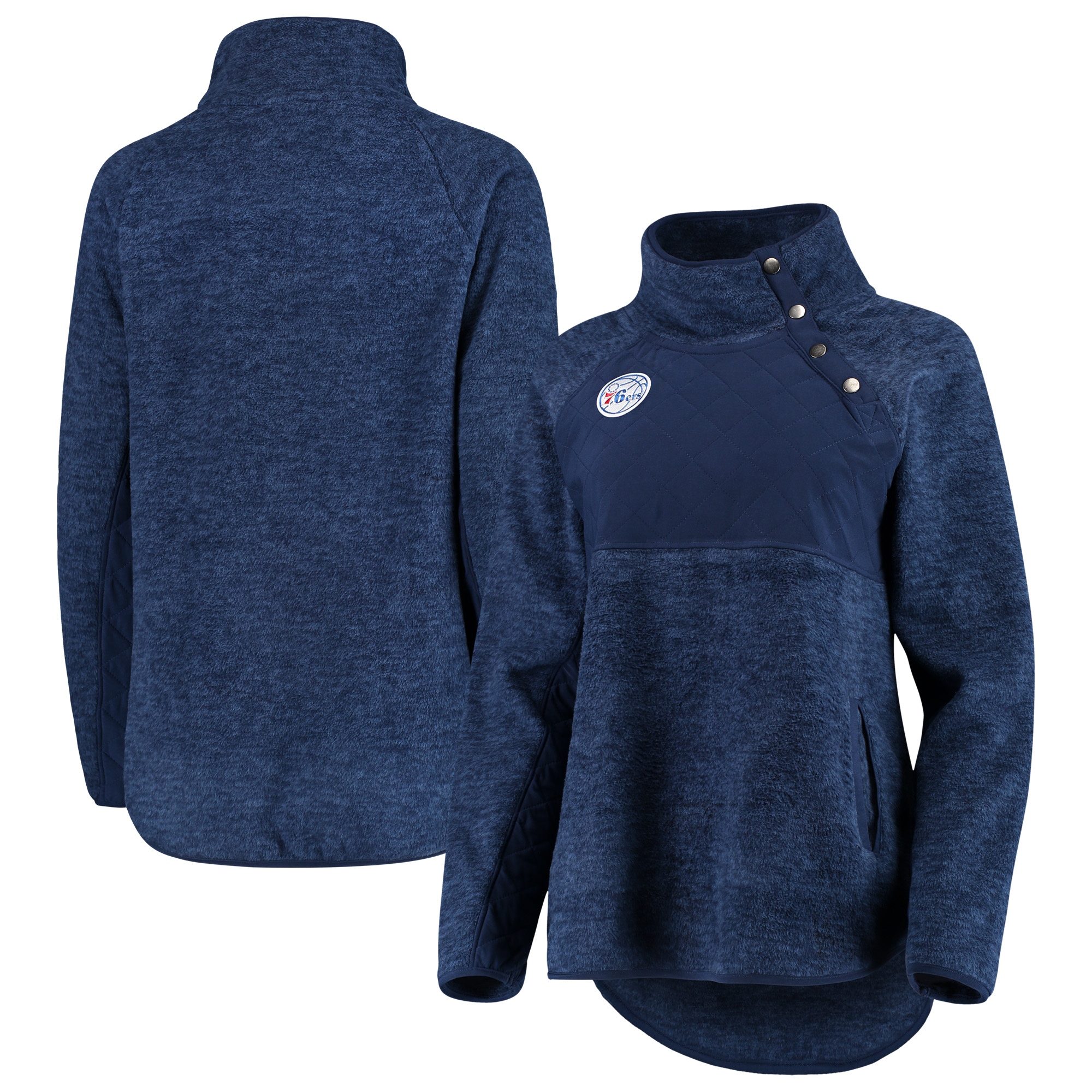 Philadelphia 76ers Women's Sidenote Quilted Snap-Up Pullover Jacket - Navy