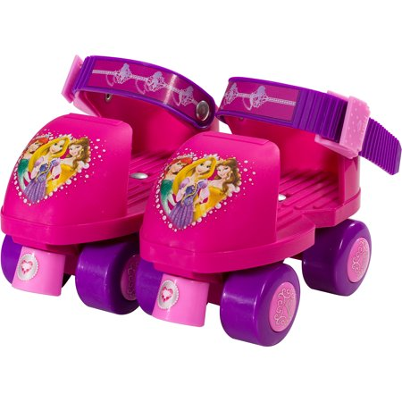 Disney Princess Kids Rollerskates with Knee Pads, Junior Size 6-12