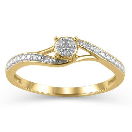 1/20 Carat T.W. JK-I2I3 diamond promise ring in 10K Yellow Gold , Size 9