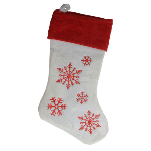 Northlight Seasonal Velvet Embroidered Snowflake Christmas Stocking